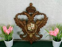 Vintage Wood carved wall shield emblem double headed eagle bird
