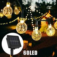 12M 60 LED Solar String Fairy Lights Outdoor Waterproof Warm White Garden Decor