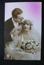 CPA fantaisie mariage vintage couple mariés Mode Robe Costume années 20