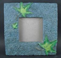 "BEAUTIFUL NATURE THEMED GREEN PICTURE FRAME WITH LEAVES 3 1/4"" Window 7"" Square"