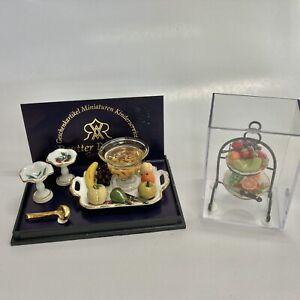 Reutter Porcelain Miniature Dollhouse Fruit Punch Set AND Tiered Fruit Tray Set