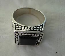 size 7 Sterling Silver 10g 15 mm Square Black Onyx Ring