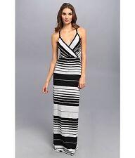 NWT Michael Stars Delancy Stripe Surplice Maxi Dress,Black/Heather Grey SIZE M