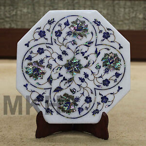 Designer Tile Handmade Marble Inlay Abalone Shell with Display Stand