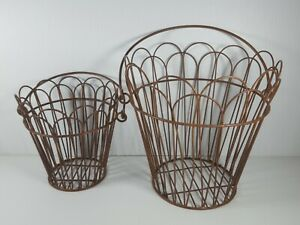 2 Rusty Wire Chicken Egg Basket Primitive Rustic Farmhouse New Lot Set of 2