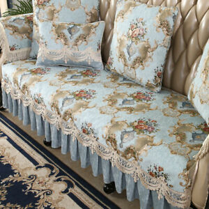 Retro Chenille Lace Sofa Cover 2 3 Seater Floral Leather Couch Chair Slipcovers