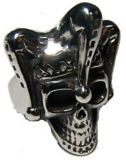 JESTER CLOWN W HAT STAINLESS STEEL RING size 12 - S-550 biker MEN women SKULLS