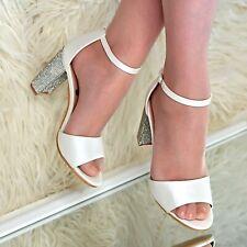 Señoras con Tiras Tacón Alto Boda Zapatos De Novia Con Estrás Correa De Tobillo Sandalias Tamaño