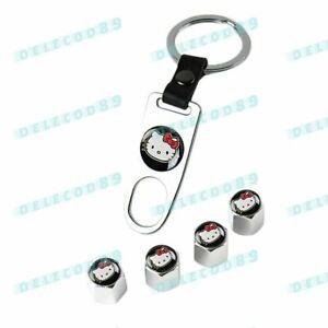 Cute Hello Kitty Car Wheel Tire Valves Dust Stem Air Caps Keychain Emblem Set