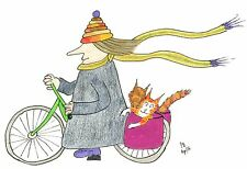 "Card: ""#MadCatWoman on bike, 2 cats in panniers"" #PeterBrighouseIllustrator"