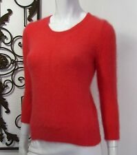 Wallace Long Sleeve Crew Neck Angora Rabbit Hair Sweater Size S, Coral