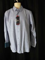 LUCHIANO VISCONTI Shirt Signature Series Medium blue white plaid NWT