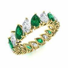 Eternity Wedding Ring 14k Yellow Gold Genuine Pear Green Emerald and White Topaz