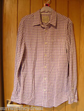 Jack Wills Purple White Check L/S Shirt 100% Cotton Size XS (Ref O) Ex Con