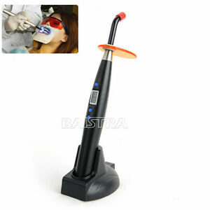 Dental Noiseless 5W Wireless Cordless LED Curing Light Cure Lamp 1200mw Black