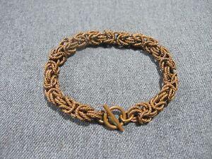 Vintage boho artsy woven links copper chain bracelet