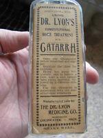 COLDWATER, MICH. DR. LYON MEDICINE CO. BOTTLE W/ ORIGINAL CATARRH LABEL MICHIGAN