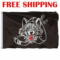 Chicago Wolves Logo Flag AHL American Hockey League 2018 Banner 3X5 ft