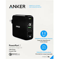 Anker PowerPort 2 Dual USB Wall Charger with Quick Charge 3.0 - Black (A2024J11)