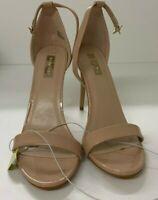 Open Toe High Heels Sandals Women's Ladies Patent Beige Stilleto Primark