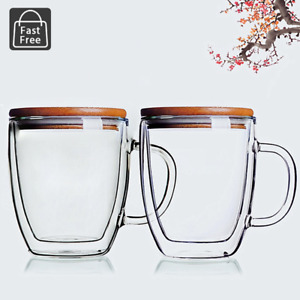 Set of 2 Strong Glass Double Wall Coffee Mug Tea Espresso Cup 14oz with Wood Lid