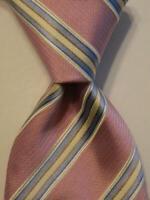 LUIGI BORRELLI NAPOLI Men's 100% Silk Necktie ITALY Luxury STRIPED Pink/Blue EUC
