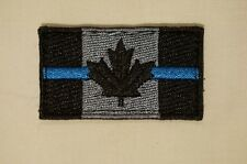 Canadian Flag Small Thin Blue Line Black and Grey Patch 1 X 2