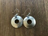 """Stamped Sterling Silver signed BJP Round Disc Etched Dangle Earrings 1.25"""""""