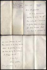 1893 10 DOWNING STREET London letter Hon Spencer Lyttelton, GLADSTONES Secretary