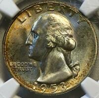 1953-S Silver TONED Washington Quarter 25c NGC MS67 CAC Census 262/2 TOP POP!