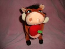 "Disney Store Lion King Pumbaa Hula apple in mouth 7"" tall Plush & Beans"