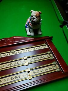 Extra Large 4 Player high Quality Snooker Scoreboard Brass Wood mahogany finish