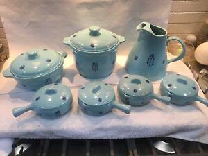 Cronin Cameron Clay Pottery Blue Tulip Pitcher, 2 Casseroles & Ind. Casseroles