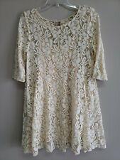 Free People Women's Creme Lace Floral 3/4 Sleeve Short Dress Size Medium