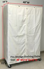"""Storage Shelving unit cover, fits racks 48""""Wx18""""Dx72""""H Cover only Off White"""