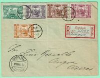 PORTUGAL AZORES 1894 Local Registered Cover w/ 5 PRINCE HENRY Issue Total 75 r