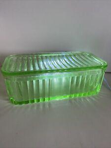 Vintage Green Uranium Depression Glass Large Butter Refrigerator Dish with lid