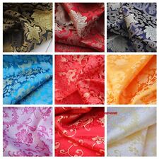 Chinese Dragon Phoenix Cloud Fabric for Clothes Dress Quilt Craft Satin By Meter
