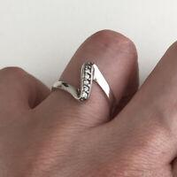 Sterling Silver 925 Ring Size L Asymmetric Wishbone Classic Minimalist