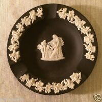 "Wedgwood 4"" Jasperware Black Basalt Round Aurora Ashtray Greek Vintage England"