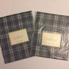 Pottery Barn Country Blue Plaid Valance Lot Of 2 44 X 17 Inches
