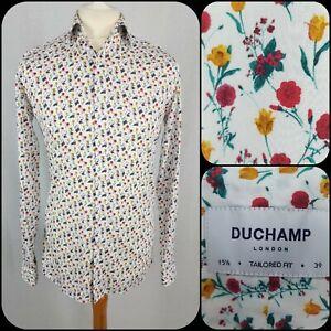 "Duchamp 100% Cotton Shirt 15.5/40"" Chest Floral Pattern Tailored"