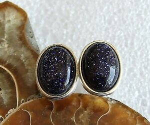 Deep Blue Glittery Goldstone Gemstone Silver Plated Cufflinks in Gift Pouch