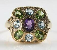 LARGE 9K CT GOLD  AMETHYST PERIDOT BLUE TOPAZ ART DECO INS RETRO RING FREE SIZE