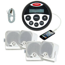 Marine Boat Bluetooth Stereo Kit MP3/USB/FM/AUX/Ipod Radio+ 4 Speakers + Antenna