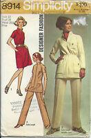 S 8914 sewing pattern Designer Fashion DRESS TUNIC PANTS sew vintage 1970 Mod 12