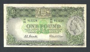 AUSTRALIA  1 Pound  ND1961-65  VF  P34a  Prefix HK 00   Signature Coombs  Wilson