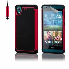 32nd Dual-layer Shockproof Case Cover for HTC PHONES Screen Protector & Stylus Desire 626 Red