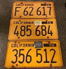 1956 California license plate assortment.