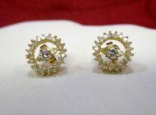 14K YELLOW GOLD DIAMOND STUDS WITH DIAMOND EARRING ROUND JACKETS SET